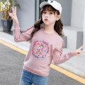 T-shirt Aier rabbit 120cm 130cm 140cm 150cm 160cm female spring and autumn Long sleeves Crew neck lady There are models in the real shooting nothing cotton Cartoon animation Cotton 95% polyurethane elastic fiber (spandex) 5% Class B Sweat absorption Spring 2021