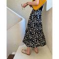 skirt Spring 2020 S,M,L,XL black Mid length dress Versatile High waist A-line skirt Broken flowers Type A 30% and below other