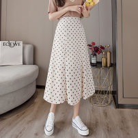 skirt Summer 2021 S. M, l, XL, [focus on genuine to show body], [free trial on freight insurance], [click collection to give priority to delivery] Black, blue, apricot Mid length dress commute High waist A-line skirt Dot Type A 30-34 years old BK214 71% (inclusive) - 80% (inclusive) other other