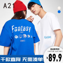 T-shirt Youth fashion Extra white blue routine 165/80A/S 170/84A/M 175/88A/L 180/92A/XL 185/96A/XXL A21 Short sleeve Crew neck standard Other leisure summer R412131211 Cotton 100% youth routine tide other Summer 2021 Alphanumeric printing cotton other Fashion brand More than 95%