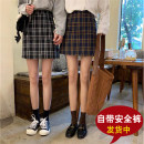 skirt Autumn of 2019 S,M,L,XL Yellow check, black and white check Short skirt Versatile High waist A-line skirt lattice Type A 18-24 years old Other / other