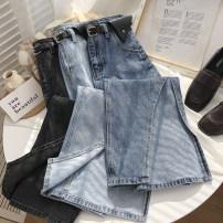 skirt Spring 2021 S,M,L longuette commute High waist Denim skirt Solid color Type A 18-24 years old Denim cotton pocket Korean version