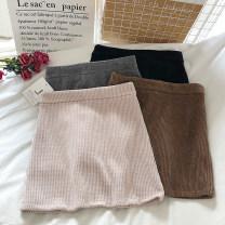 skirt Autumn 2020 S,M,L Apricot, grey, black, brown Short skirt commute High waist A-line skirt Solid color Type A 18-24 years old zipper Korean version