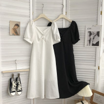 Dress Summer 2021 White, black Average size longuette singleton  Long sleeves commute V-neck middle-waisted Solid color Socket routine 18-24 years old Type A Korean version 81% (inclusive) - 90% (inclusive) cotton