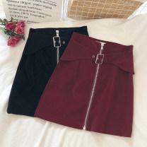 skirt Winter 2020 S,M,L Black, red Short skirt commute High waist A-line skirt Solid color Type A 18-24 years old zipper Korean version