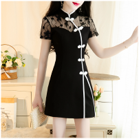 Dress Summer 2021 black S,M,L,XL,2XL,3XL Short skirt Two piece set Short sleeve commute stand collar middle-waisted Solid color zipper routine Type A Retro Cut out, Gouhua cut out, pocket, stitching, zipper, lace 71% (inclusive) - 80% (inclusive) nylon