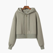 Sweater / sweater Spring 2021 Grey green S,M,L,XL Long sleeves have cash less than that is registered in the accounts Cardigan singleton  routine Hood easy commute routine Solid color Other / other Korean version zipper cotton zipper