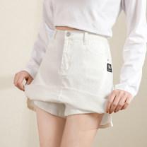 skirt Summer 2021 S,M,L,XL,2XL Off white, black Short skirt commute High waist Denim skirt Solid color Type A 18-24 years old FH7719 More than 95% Denim cotton Pocket, make old, button, zipper, three dimensional cutting Korean version