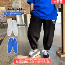 trousers OO+KIDS neutral 80cm,90cm,100cm,110cm,120cm,130cm,140cm,150cm Black, blue, gray, black pre-sale, blue pre-sale, gray pre-sale summer trousers Korean version There are models in the real shooting Sports pants Leather belt middle-waisted other other Chinese Mainland