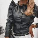 shirt Black, kiwi S,M,L,XL,2XL PU 81% (inclusive) - 90% (inclusive) Long sleeves Regular Single row multi button
