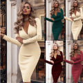 Dress Spring of 2019 Apricot, Burgundy, black, dark green, scarlet S,M,L,XL,XXL Miniskirt singleton  Long sleeves Sweet V-neck middle-waisted Solid color routine 18-24 years old tassels 712# cotton princess