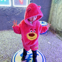 suit AKE Pink, rose red, light green, lotus root, green, watermelon red 110cm,120cm,130cm,140cm neutral winter leisure time Long sleeve + pants 2 pieces thickening There are models in the real shooting Socket No detachable cap Cartoon animation flannelette children Learning reward Class A