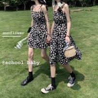 Dress Summer 2021 Long, short Average size Mid length dress singleton  commute High waist routine camisole Type A Retro More than 95% polyester fiber