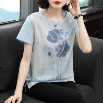 T-shirt Light blue bean Pink M L XL 2XL 3XL 4XL Summer 2021 Short sleeve Crew neck easy Regular routine commute cotton 86% (inclusive) -95% (inclusive) 40-49 years old lady literature Solid color mosaic of plant flowers Cloud embroidery 01034# Cotton 93.8% polyurethane elastic fiber (spandex) 6.2%