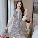 Dress Autumn 2021 Picture color S,M,L,XL,2XL Mid length dress singleton  Long sleeves commute Doll Collar middle-waisted Solid color zipper A-line skirt other Type A Korean version Splicing 81% (inclusive) - 90% (inclusive)