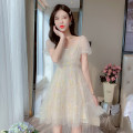 Dress Summer 2021 Picture color S,M,L,XL Mid length dress singleton  Short sleeve commute square neck middle-waisted other zipper A-line skirt puff sleeve Type A Korean version Splicing 81% (inclusive) - 90% (inclusive) Lace