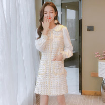 Dress Spring 2021 Apricot (968), pink (951), blue (951), apricot (965), apricot (970) S,M,L,XL,2XL Mid length dress singleton  Long sleeves commute Doll Collar middle-waisted other zipper A-line skirt other Type A Korean version Button, button 81% (inclusive) - 90% (inclusive) Chiffon