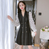 Dress Autumn 2021 black S,M,L,XL Mid length dress Fake two pieces Long sleeves commute V-neck middle-waisted Solid color Socket A-line skirt other Type A Korean version Auricularia auricula, stitching, button 81% (inclusive) - 90% (inclusive) Chiffon