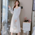 Dress Spring 2021 white S,M,L,XL Mid length dress singleton  Long sleeves commute square neck middle-waisted Solid color zipper A-line skirt routine Type A Korean version Bowknot, Auricularia auricula, stitching 81% (inclusive) - 90% (inclusive) Chiffon