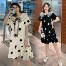 Lace / Chiffon Summer of 2019 Black, white M,L,XL,2XL,3XL,4XL Short sleeve commute Socket singleton  easy Medium length square neck Dot routine 25-29 years old Other / other Lace, bow, lace, stitching, printing, three-dimensional decoration, mesh, swallow tail Korean version Tencel