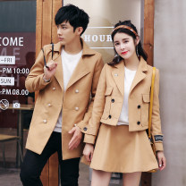 woolen coat Winter of 2018 Female s female m female l female XL male m male l male XL male XXL Khaki black polyester fiber 71% (inclusive) - 80% (inclusive) Medium length Long sleeves commute Single breasted routine stand collar Solid color Cape type Korean version E6171 Ensun  18-24 years old