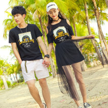 T-shirt Youth fashion Black man and black woman routine Female s female m female l female XL male m male l male XL male XXL Ensun  Short sleeve Crew neck Self cultivation Other leisure summer 6225E Cotton 95% polyurethane elastic fiber (spandex) 5% Couples dress routine Youthful vigor Summer of 2018
