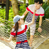 T-shirt Youth fashion White red stripe blue stripe green stripe 5292 white 5292 red 5292 blue routine Female s / 155 female M / 160 female L / 165 female XL / 170 male M / 170 male L / 175 male XL / 180 male XXL / 185 Ensun  Short sleeve Crew neck Self cultivation Other leisure summer E5218 routine