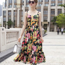 Dress Summer of 2019 Picture color S,M,L,XL Mid length dress singleton  Sleeveless commute One word collar High waist zipper other camisole 25-29 years old Type A 51% (inclusive) - 70% (inclusive)