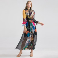 Dress Summer of 2019 Picture color S,M,L,XL Mid length dress singleton  Long sleeves commute Crew neck Elastic waist zipper Big swing bishop sleeve Others 25-29 years old Type A Retro 51% (inclusive) - 70% (inclusive)