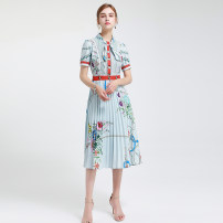 Dress Summer 2020 Graph color S,M,L,XL Middle-skirt singleton  Short sleeve commute High waist routine 25-29 years old Type A Ye Lixin Retro 51% (inclusive) - 70% (inclusive)