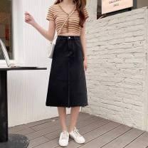 skirt Autumn 2020 Medium length skirt High waist commute A-line skirt Solid color Type A 71% (inclusive) - 80% (inclusive) cotton 613 18-24 years old Korean version M,L,XL,2XL,3XL,4XL black
