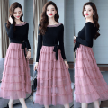 Dress Spring 2021 Black on top, pink on top, black on bottom S,M,L,XL,2XL,3XL Mid length dress singleton  Long sleeves Sweet One word collar High waist Solid color Socket A-line skirt routine Others Type A Lace up, stitching oy60 91% (inclusive) - 95% (inclusive) knitting cotton Mori