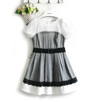 Dress Summer 2016 black S,M,L Short skirt singleton  Short sleeve commute Crew neck High waist houndstooth  zipper A-line skirt bishop sleeve Type X Retro More than 95% cotton