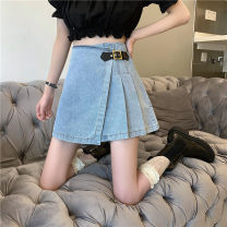 skirt Summer 2021 S,M,L Blue, black Short skirt Versatile High waist Denim skirt Solid color Type A 18-24 years old 71% (inclusive) - 80% (inclusive) Denim Other / other Fold, asymmetric