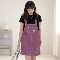 Dress Summer 2021 Purplish red S,M,L Middle-skirt singleton  Sleeveless street One word collar High waist Solid color zipper A-line skirt straps 18-24 years old Type A Other / other Button 512# 30% and below Denim wool