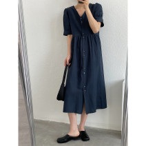 Dress Spring 2021 Navy, hemp embryo Single code longuette singleton  Long sleeves commute V-neck High waist Solid color Single breasted A-line skirt routine Type A Simplicity 2021.3.30 30% and below hemp