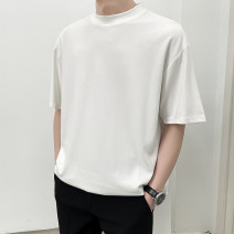 T-shirt Youth fashion Black, white, brown routine M,L,XL,2XL Others Long sleeves Crew neck standard daily summer Cotton 94.3% polyurethane elastic fiber (spandex) 5.7% teenagers Off shoulder sleeve Exquisite Korean style other 2021 Solid color cotton