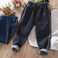 trousers Fat dad's house male Black, blue spring and autumn trousers Simplicity No model Jeans Leather belt middle-waisted cotton Don't open the crotch Cotton 95% polyurethane elastic fiber (spandex) 5% Class B Chinese Mainland