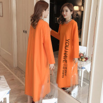 Nightdress Other / other S. M, l, XL, 2XL, 3XL, 4XL, attention and courtesy Sweet Middle sleeve pajamas longuette spring letter youth Crew neck cotton printing 81% (inclusive) - 95% (inclusive) 340g