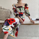 Dress Summer of 2019 Floral print S [unique design and color], m [unique design and color], l [more beautiful] longuette singleton  commute square neck High waist Decor zipper Ruffle Skirt Flying sleeve 25-29 years old Type A Retro