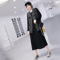 Women's large Autumn 2020 black 3XL is suitable for 135-155 kg, 4XL for 155-170 kg, 5XL for 175-190 kg, and 6xl for 195-220 kg Dress Two piece set commute easy moderate Socket Long sleeves Solid color Korean version Crew neck routine polyester Three dimensional cutting routine Middle-skirt