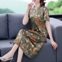 Dress Summer 2021 khaki L XL 2XL 3XL 4XL 5XL Mid length dress singleton  Short sleeve commute V-neck middle-waisted Decor Socket A-line skirt other Others 40-49 years old Type A Den Yihan Retro printing 71% (inclusive) - 80% (inclusive) other silk Silk 80% others 20% Pure e-commerce (online only)