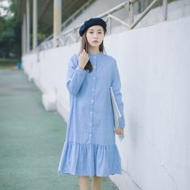 Dress Autumn 2016 Light blue spot Average size Middle-skirt singleton  Long sleeves commute stand collar Loose waist stripe Single breasted Ruffle Skirt routine Type A lady Button, button 71% (inclusive) - 80% (inclusive) cotton