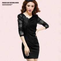 Dress Winter 2015 Black, rose M,L,XL Short skirt singleton  Long sleeves commute V-neck High waist zipper Pleated skirt routine Others 25-29 years old Ol style Hollowed out, pleated, inlaid, embroidered, pleated, stitched, asymmetric, nail bead, gauze net, zipper, lace VVV2 More than 95% brocade