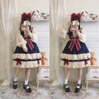 Dress Autumn of 2019 S,L Mid length dress singleton  Sleeveless Sweet One word collar High waist Solid color Socket Princess Dress routine camisole Type X cotton Lolita