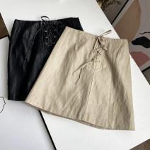 skirt Spring 2021 S, M Black, apricot, black stain Short skirt Versatile Solid color 51% (inclusive) - 70% (inclusive) PU
