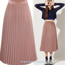 skirt Winter 2016 S,M,L,XL White, black, pink Middle-skirt Pleated skirt Solid color