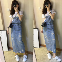 skirt Summer 2020 S (about 88-97 kg), m (about 98-107 kg), l (about 108-117 kg), XL (about 118-127 kg), 2XL (about 129-136 kg) Light blue (try on, please don't cut the tag) Mid length dress Versatile High waist Strapless skirt Type H 25-29 years old More than 95% Denim cotton