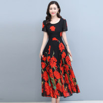 Dress Summer 2020 Blue flowers red flowers M L XL XXL XXXL XXXXL Mid length dress singleton  Short sleeve commute Crew neck middle-waisted Decor Socket Big swing routine Others 35-39 years old Type A Meng Jia Xian Yi lady Pleated zipper printing MJQY20X-0511-07 More than 95% Chiffon polyester fiber