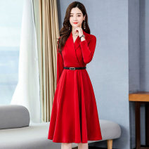Dress / evening wear Weddings, adulthood parties, company annual meetings, daily appointments M L XL XXL Red Green Black Royal Blue Medium length middle-waisted Autumn 2020 A-line skirt Deep collar V Bandage Long sleeves Solid color Meng Jia Xian Yi routine Polyester 100% Exclusive payment of tmall